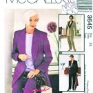 McCall's Sewing Pattern 9645 Misses Sizes 24 Palmer/Pletsch Lined Shawl Collar Jacket Pants