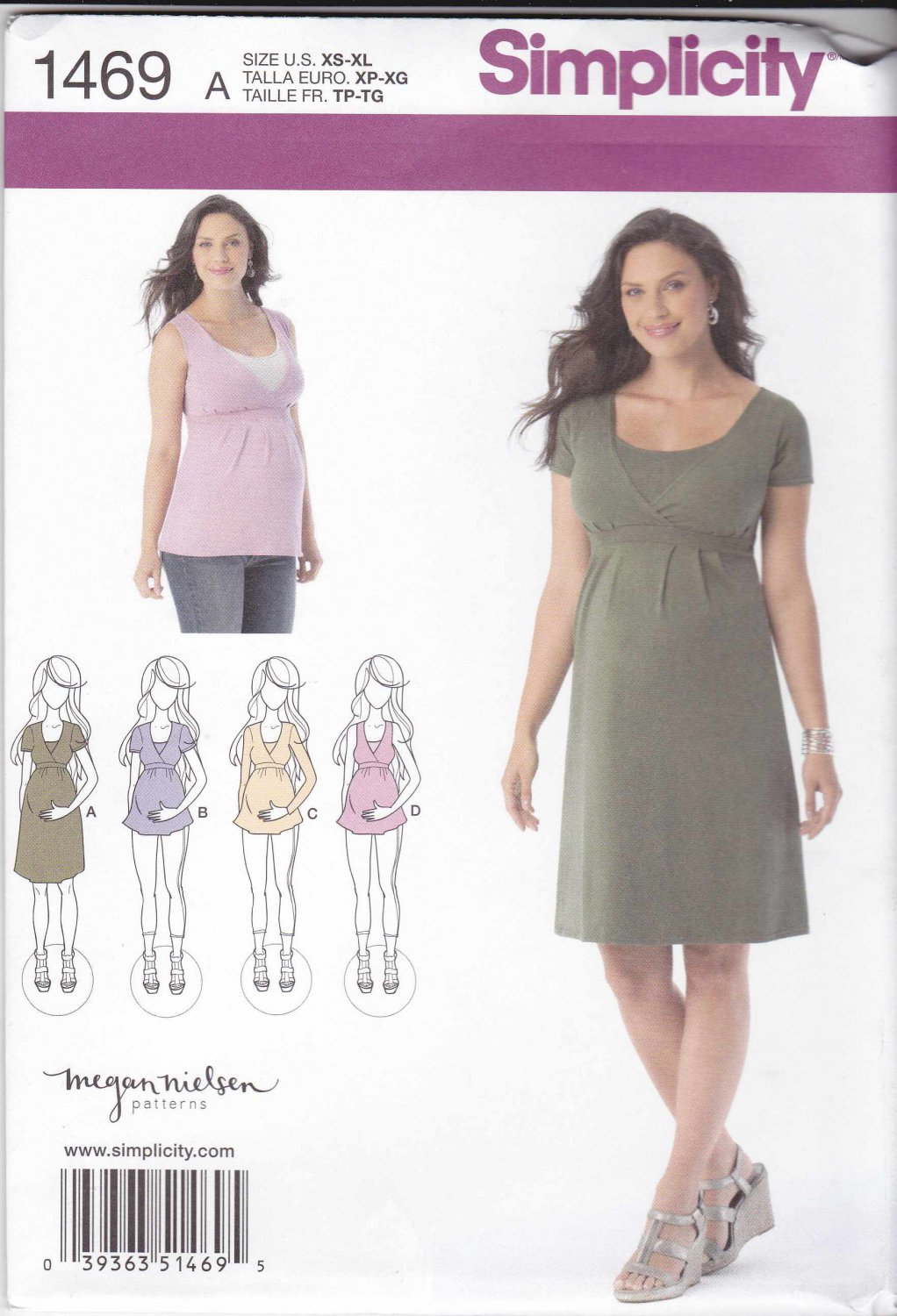 Simplicity Sewing Pattern 1469 Maternity Misses Size 6 24
