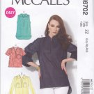 McCall's Sewing Pattern 6702 Misses Sizes 16-26 Easy Pullover Tops Sleeve Collar Options