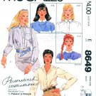 McCall's Sewing Pattern 8649 M8649 Misses Sizes 12 Long Sleeve Front Button Shirt Collar Options