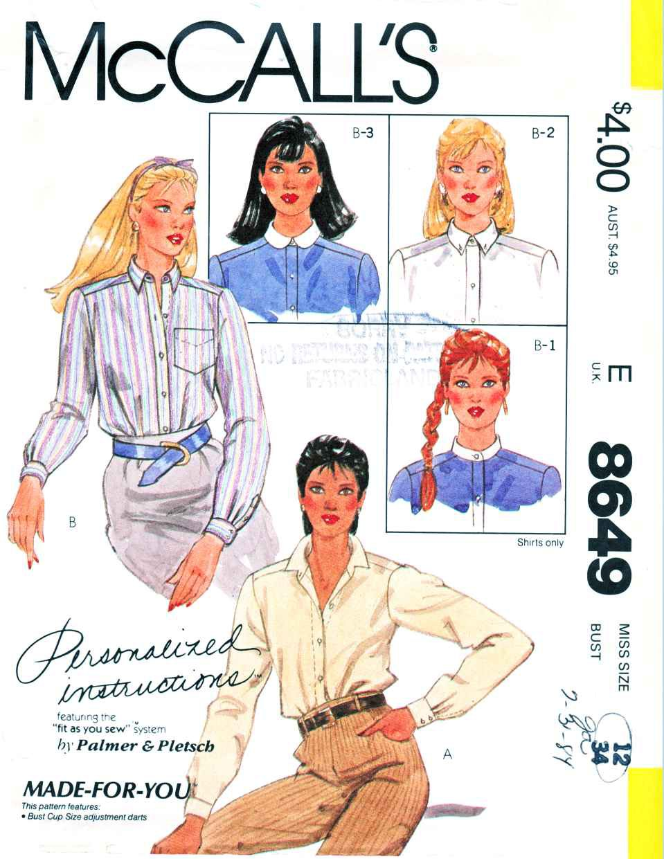 McCall's Sewing Pattern 8649 M8649 Misses Sizes 14 Long Sleeve Front Button Shirt Collar Options