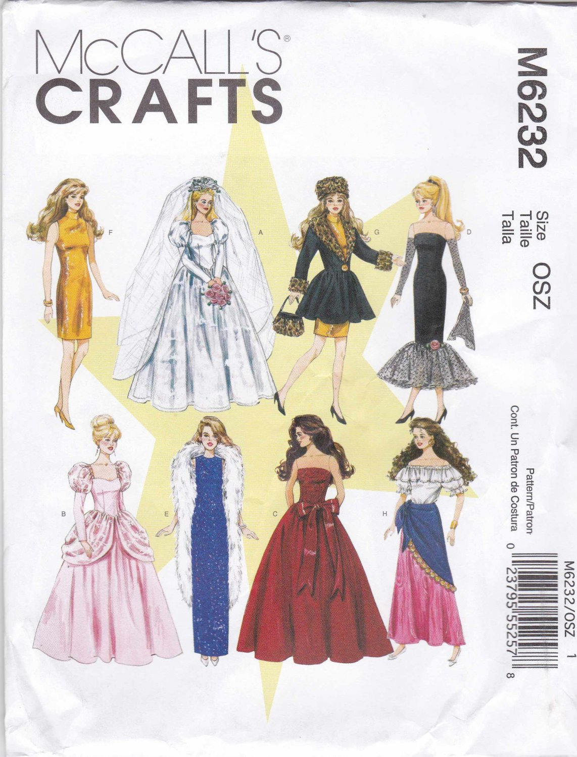 """McCall's Sewing Pattern 6232 Crafts 11 1/2"""" Fashion Doll Barbie Wardrobe Dresses Evening Gowns"""