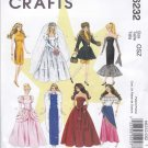 "McCall's Sewing Pattern 6232 Crafts 11 1/2"" Fashion Doll Barbie Wardrobe Dresses Evening Gowns"