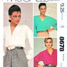 McCall's Sewing Pattern 8678 Misses Sizes 10-12 Easy Button Front Long Sleeve Blouse Collar Options