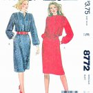 McCall's Sewing Pattern 8772 M8772 Misses Sizes 12 Pullover Long Sleeve Front Tuck Dress