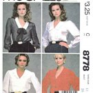 McCall's Sewing Pattern 8778 Misses Sizes 12 Button front V-Neck Long Sleeve Blouse Collar Options