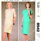 McCall's Sewing Pattern 8942 Misses Sizes 12 Easy Straight Dresses Side Buttons Sleeve Options