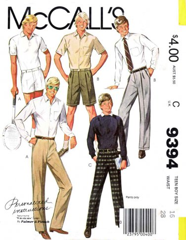 McCall's Sewing Pattern 9394 Teen Boy Size 18 Dress Pants Shorts Front Pleat Option