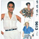 McCall's Sewing Pattern 9613 Misses Size 10 Button Front Blouses Sleeve Options