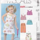 McCall's Sewing Pattern M4815 4815 Girls Size 2-5 Easy Summer Wardrobe Dress Top Skort Pants