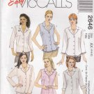 McCalls Sewing Pattern 2646 Misses Size 4-8 Easy Basic Button Front Tops Blouse Shirt