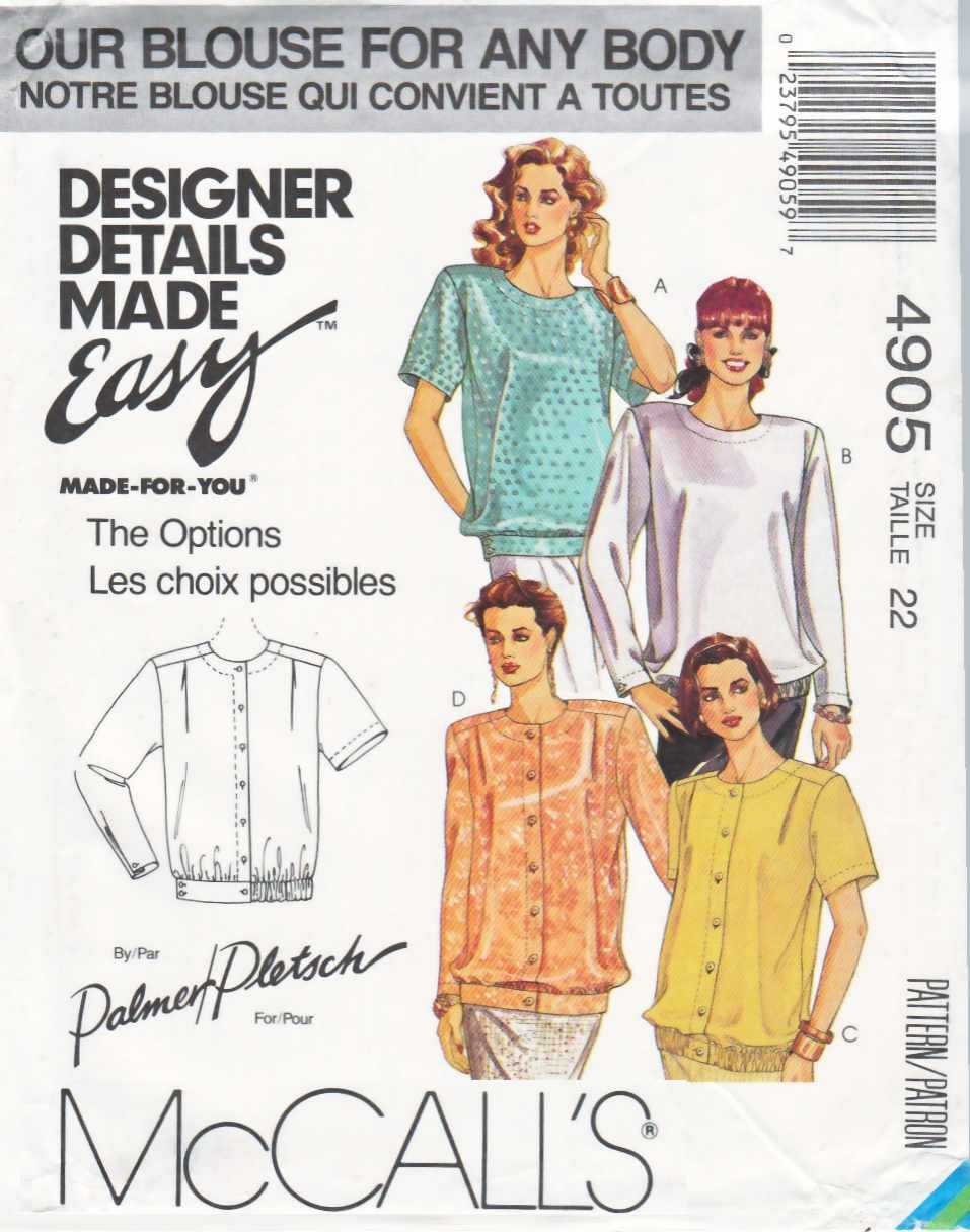 McCalls Sewing Pattern M4905 4905 Misses Size 12 Palmer/Pletsch Easy Blouse Sleeve Hem Options
