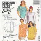 McCalls Sewing Pattern M4905 4905 Misses Size 10 Palmer/Pletsch Easy Blouse Sleeve Hem Options