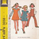 McCalls Sewing Pattern 3658 Girls' Size 4 Easy Pullover Dress Jumper Top Pants Optional Sleeves