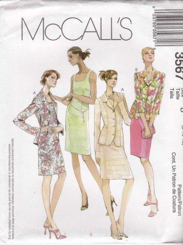 McCalls Sewing Pattern 3567 M3567 Misses Size 8-12 Button Front Jacket Sleeveless Sheath Dress