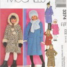 McCalls Sewing Pattern 3374 Girls' Size 3-6 Button Front Coats Hats Scarf Optional Hood