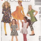 McCalls Sewing Pattern 5776 Girls' Size 14 Easy Dress Tunic Knit Leggings Sleeve Options