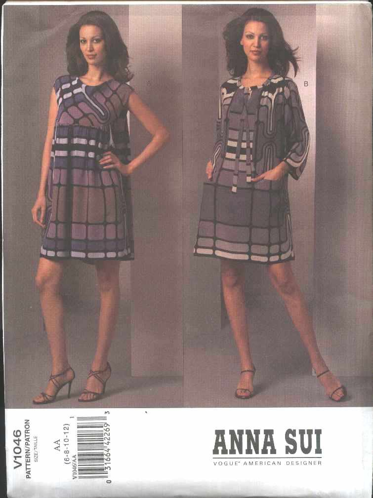 Vogue Sewing Pattern 1046 V1046 Misses Size 6-12 Anna Sui Sleeveless Long Sleeve Dresses Summer