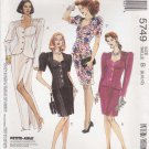 McCalls Sewing Pattern 5749 Misses Size 8-12 Two Piece Dress Button Front Top Straight Skirt