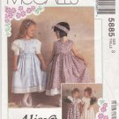 McCalls Sewing Pattern 5885 Girls' Size 8 Alicyn Party Dress Petticout Ruffles Tucks Puffy Sleeves