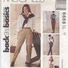 McCalls Sewing Pattern 6668 M6668 Misses Size 10 Back to Basics Close Fitting Pants