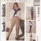 McCalls Sewing Pattern 6668 M6668 Misses Size 12 Back to Basics Close Fitting Pants