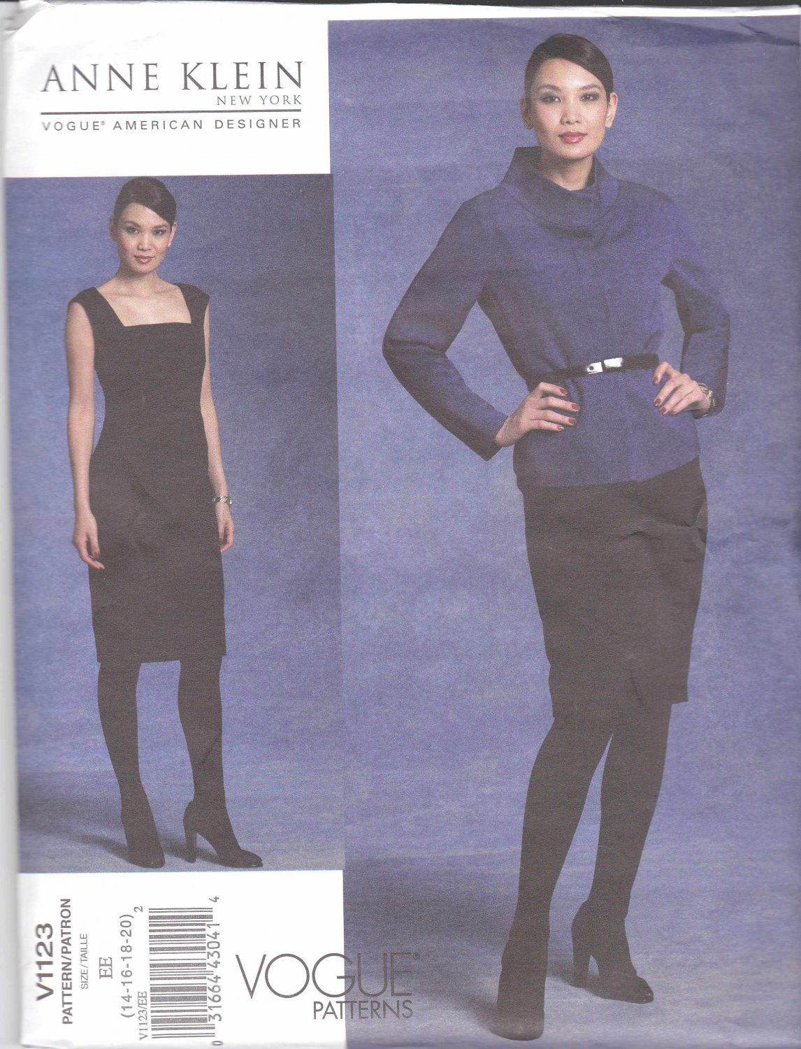 Vogue Sewing Pattern 1123 Misses Size 14-20 Anne Klein Lined Jacket Straight Dress Seaming Detail