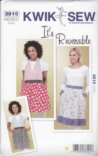 Kwik Sew Sewing Pattern 3810 Misses Sizes S-L Full Half Reversible Aprons