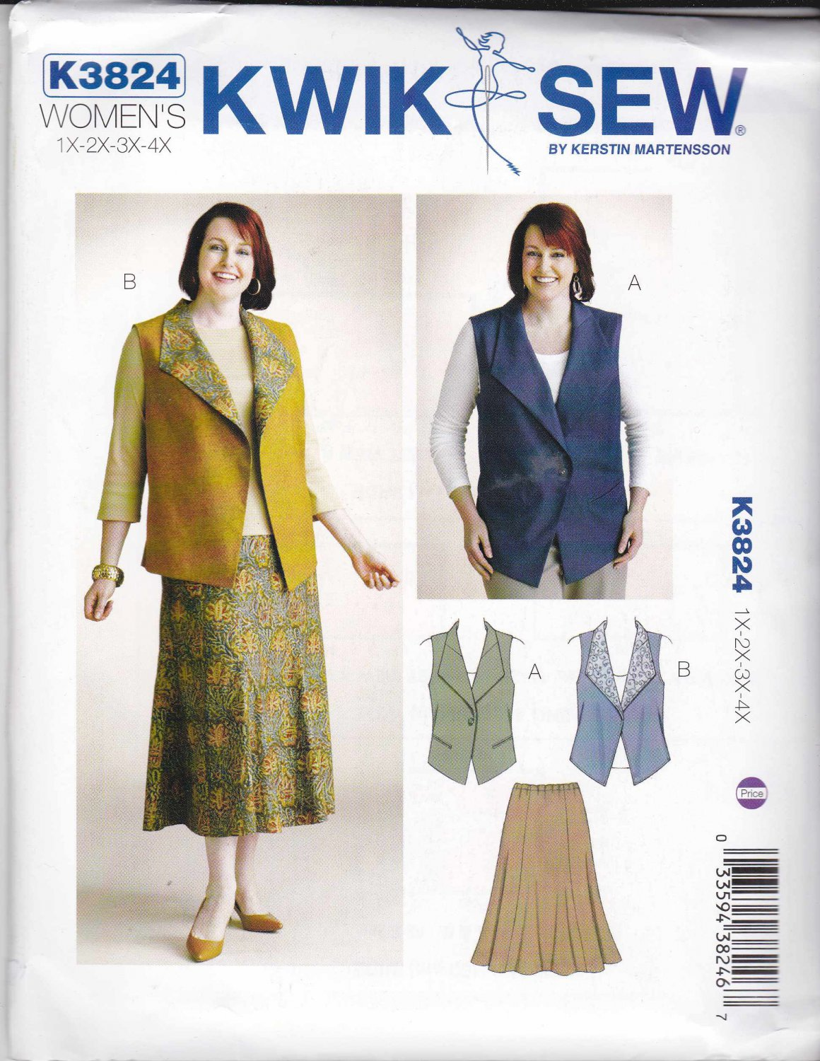 Kwik Sew Sewing Pattern 3824 Women's Plus Sizes 1X-4X Button Front Vest Flared Pull-on Skirt