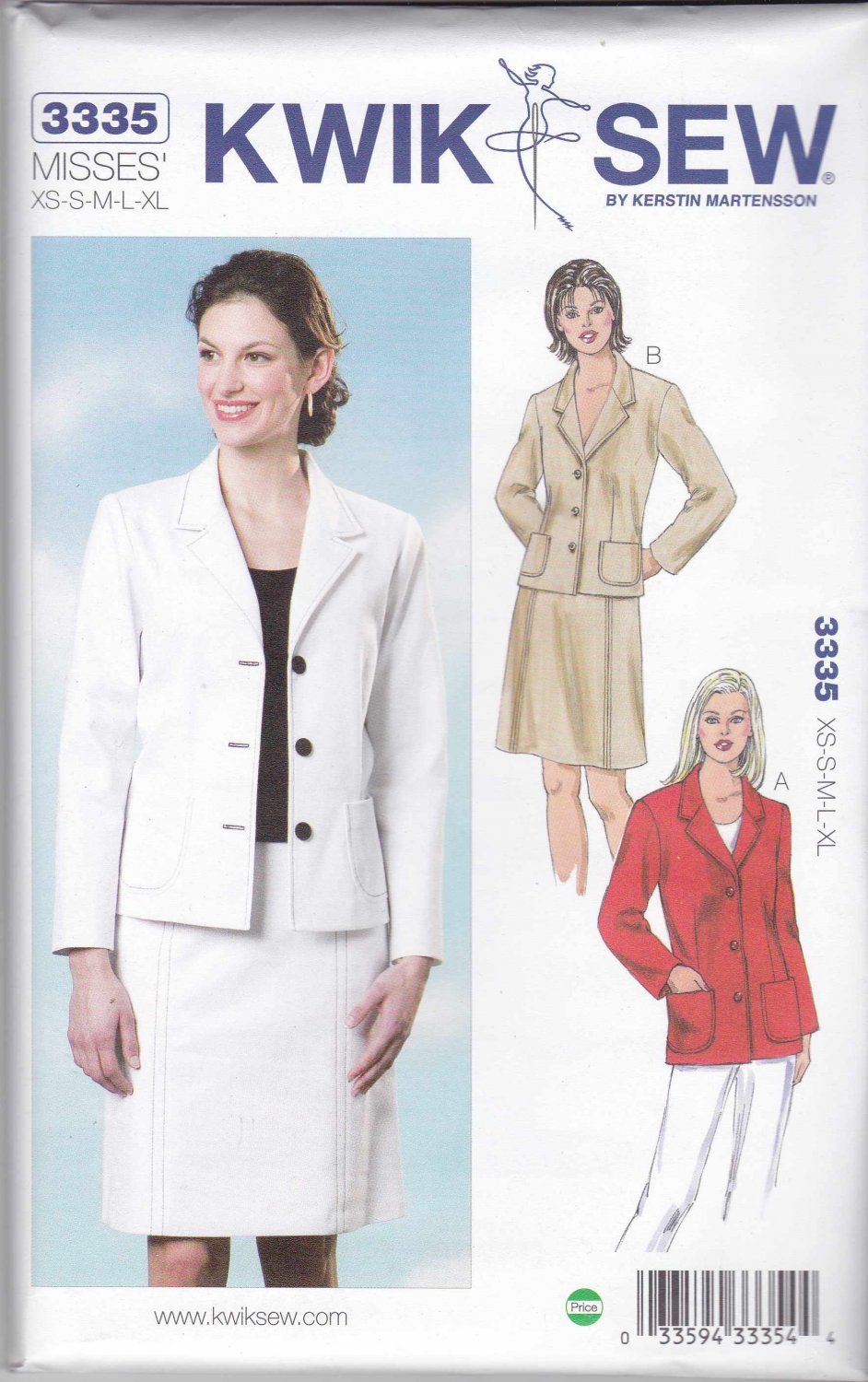 Kwik Sew Sewing Pattern 3335 Misses Sizes XS-XL (approx 6-22) Button Front Jackets A-line Skirt