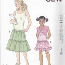 Kwik Sew Sewing Pattern 3411 Girls Sizes 4-14 Tiered Skirt Knit Sleeveless Top Bolero
