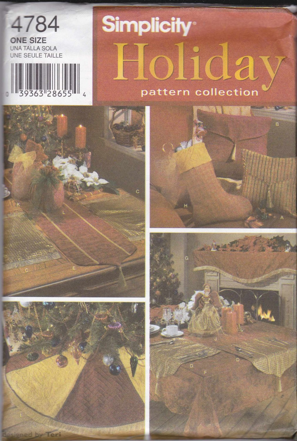 Simplicity Sewing Pattern 4784 Christmas Decorations Tree Skirt Stocking Angel Table Runner