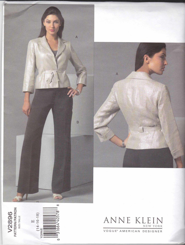 Vogue Sewing Pattern 2896 Misses Size 14-16-18 Jacket Pants Pantsuit Anne Klein