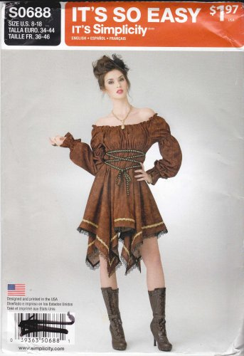 410765de3 Simplicity Sewing Pattern H0114 Misses Sizes 8-18 Easy Pullover Steampunk  Dress Costume