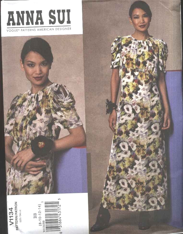 Vogue Sewing Pattern 1134 Misses Size 16-24 Easy Anna Sui Long Formal Dress Short Sleeves