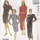 McCalls Sewing Pattern 6747 M6747 Misses Size 10 Straight Princess Seam Dress Length Options
