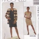 McCalls Sewing Pattern 7151 M7151 Misses Size 8 Lined Cardigan Jacket Straight Dress