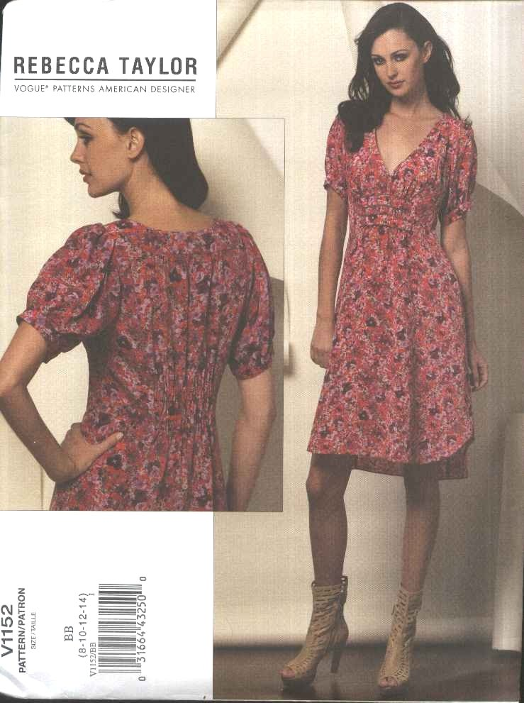 Vogue Sewing Pattern 1152 Misses Size 16-22 Rebecca Taylor Short Sleeved Dress