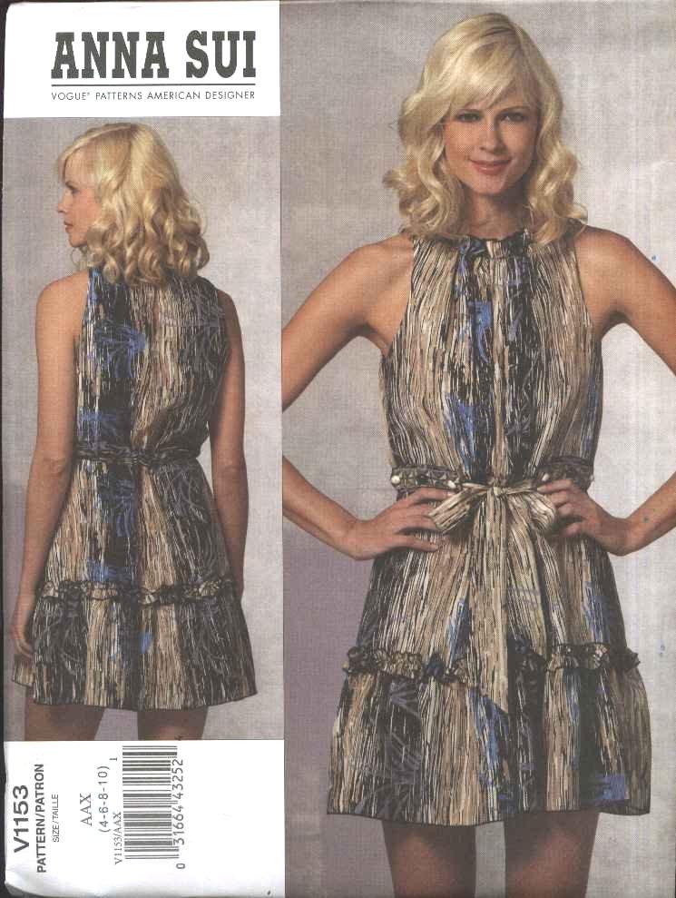 Vogue Sewing Pattern 1153 Misses Size 4-10 Anna Sui Sleeveless Summer Dress Ruffles