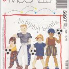 McCalls Sewing Pattern 5897 Girls Boys Size 3-4-5 Easy Shorts Pants Hat Knit T-Shirt Tank Top