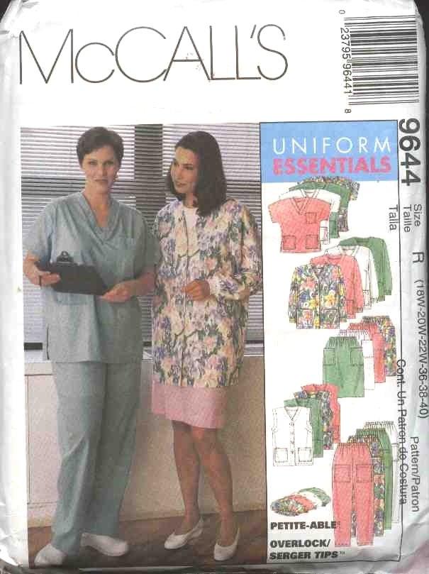 McCall's Sewing Pattern 9644 Womans Plus Size 28W-32W Scrub Medical Nurse Nursing Uniforms