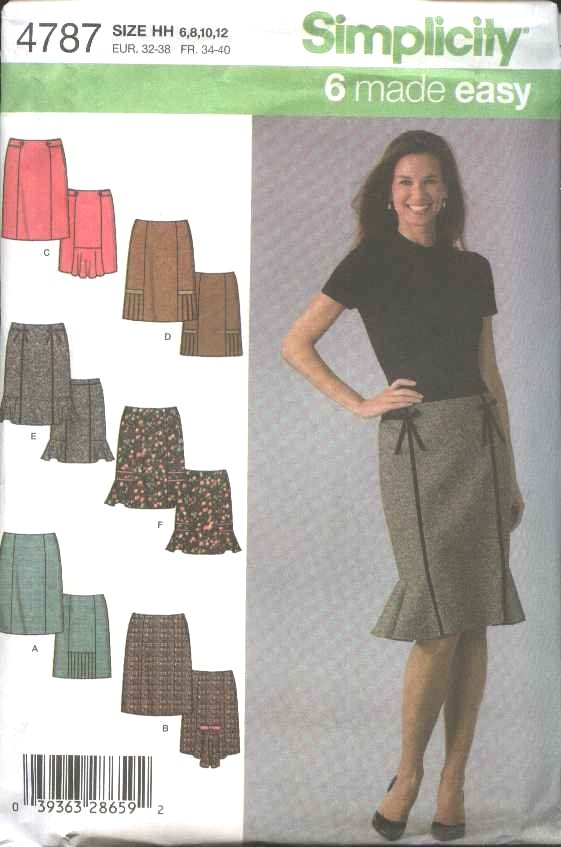 Simplicity Sewing Pattern 4787 Misses Size 14-20 Easy Skirts Trim Kick Pleat Variations