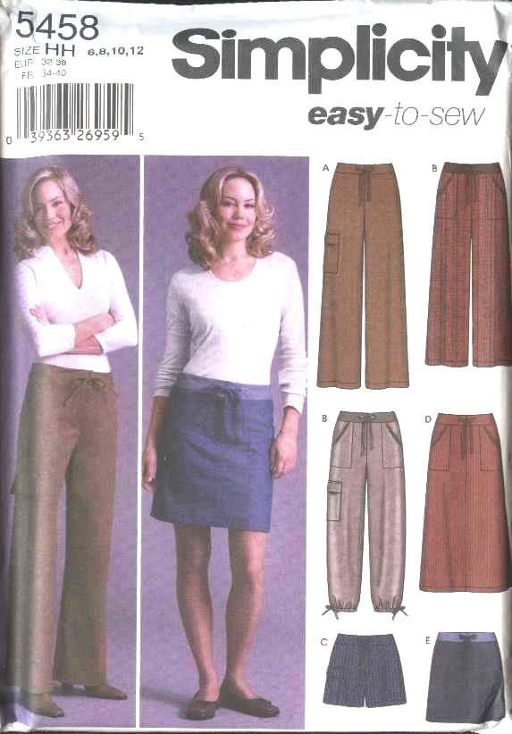 Simplicity Sewing Pattern 5458 Misses Size 6-12 Easy Drawstring A-Line Skirts Pants Shorts