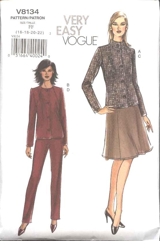 Vogue Sewing Pattern 8134 Misses Size 16-18-20-22 Easy Jacket Skirt Pants Suit Pantsuit
