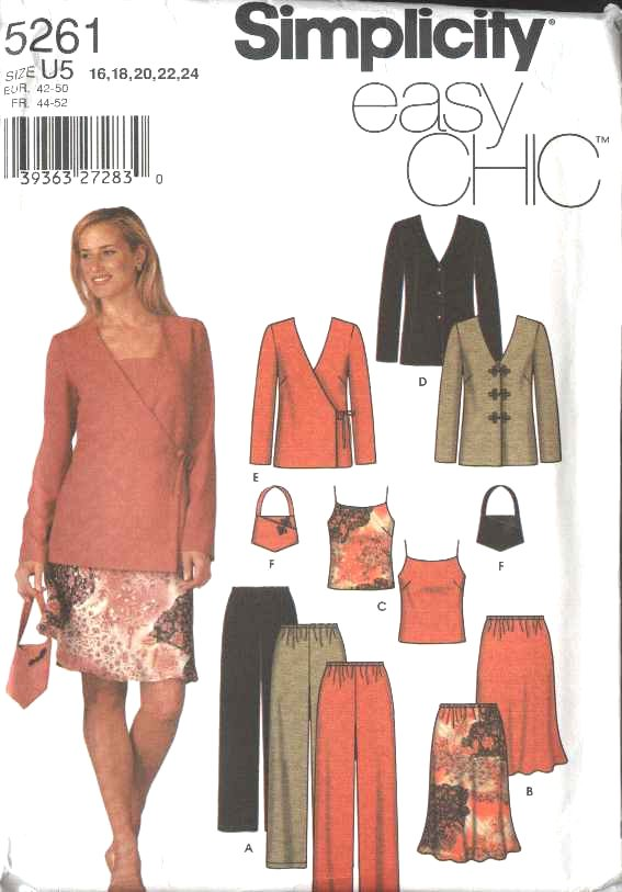 Simplicity Sewing Pattern 5261 Misses Size 16-24 Easy Wardrobe Jacket Skirt Camisole Pants Purse