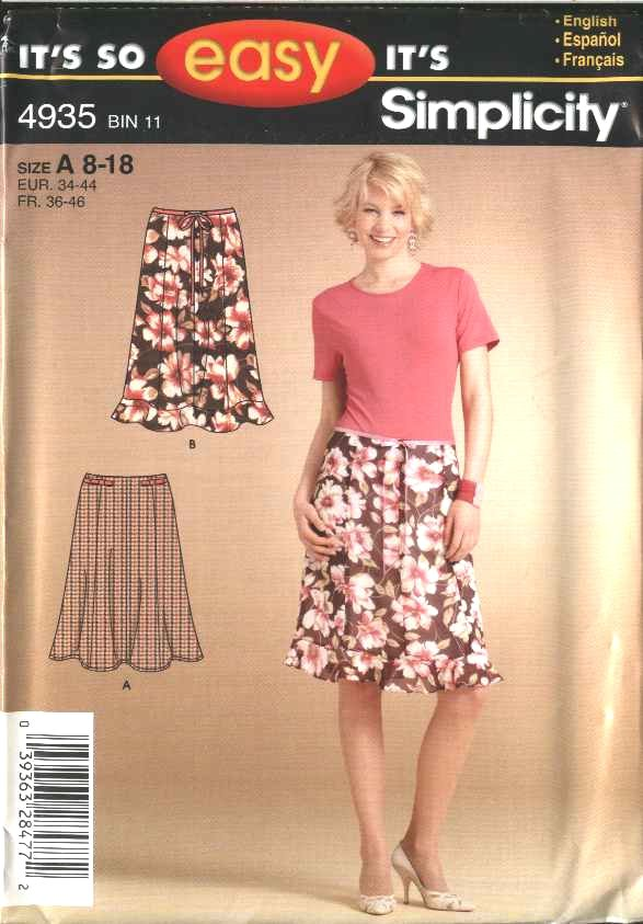 Simplicity Sewing Pattern 4935 Misses Size 8-18 Easy Flared Skirt