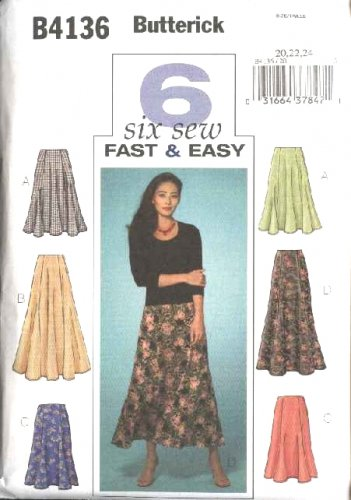 Butterick Sewing Pattern 4136 B4136 Misses Size 20-22-24 Easy Flared Short Long Skirts