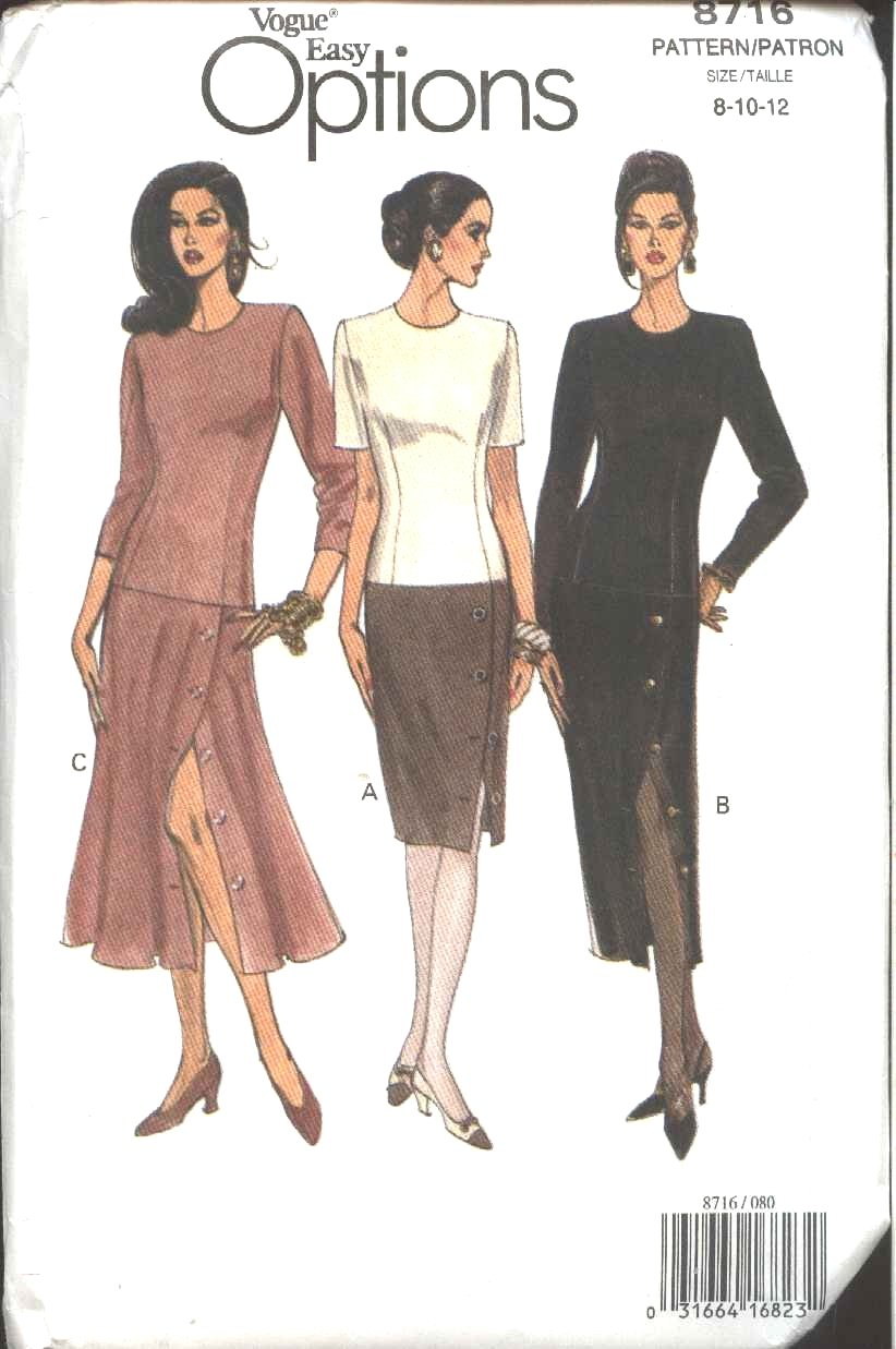 Vogue Sewing Pattern 8716 Misses Size 8-10-12 Easy Straight Flared Dress