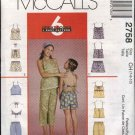 McCall's Sewing Pattern 2758 Girls Size 7-8-10 Easy Summer Suntops Tops Shorts Cropped Pants