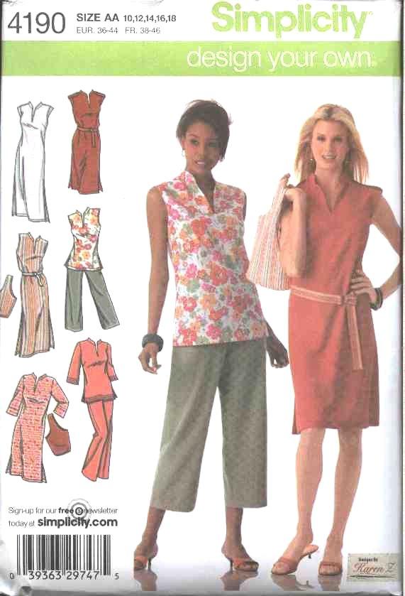 Simplicity Sewing Pattern 4190 Women's Plus Size 20W-28W Dress Pants Tunic Purse Capris
